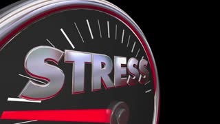 Stress Level Rising Speedometer Gauge Word 3d Animation