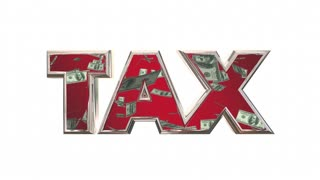 Tax Word Money Falling Fees Income 3d Animation