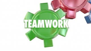 Teamwork Moves Us Forward Together Gears Words