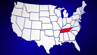 Tennessee TN Animated State Map USA Zoom Close Up