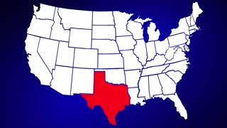 Texas TX Animated State Map USA Zoom Close Up