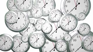 Time Passing Clocks Flying By Animated Video