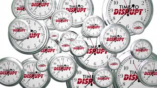 Time to Disrupt Change Reinvent Clocks Flying 3d Animation