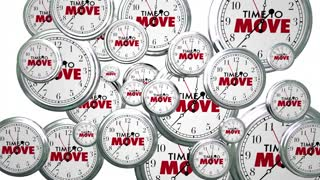 Time to Move Clocks Flying By Take Action Now 3d Animation