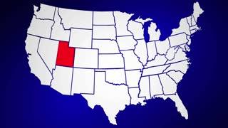 Utah UT United States of America 3d Animated State Map