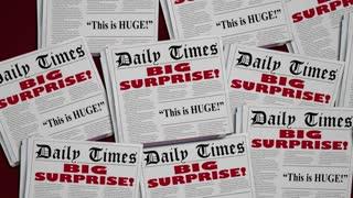 Big Surprise Shock News Announcement Newspaper Headlines 3 D Animation