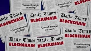 Blockchain Technology Digital Innovation Newspaper Headlines 3 D Animation