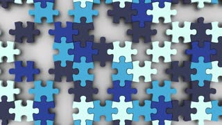 Blue Puzzle Pieces Fitting Together Solution Winter Colors 3 D Animation