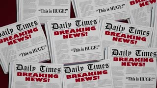 Breaking News Story Live Big Report Newspaper Headlines 3 D Animation