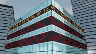 Bull Market Stock Ticker Building Wall Street 3 D Animation