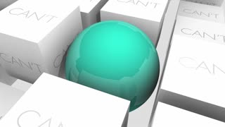 Can Vs Cant Positive Attitude Confidence Sphere In Cubes 3 D Animation