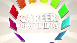 Career Planning Doors Paths Choices Job Objective 3 D Animation