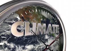 Climate Change Clock Earth Hands Ticking 3 D Animation