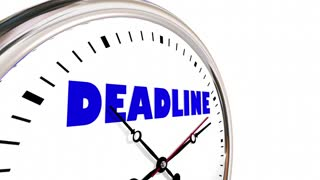 Deadline Clock Due Limited Time Hands Ticking 3 D Animation