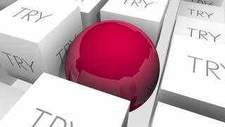 Do Vs Try Determination Achieve Success Sphere Cubes 3 D Animation