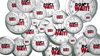 Dont Wait Clocks Flying Act Now Urgent Time 3 D Animation