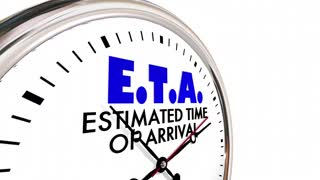 Eta Estimated Time Of Arrival Clock Hands Ticking 3 D Animation