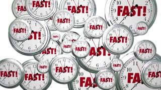 Fast Time Clocks Flying Speed Service 3 D Animation