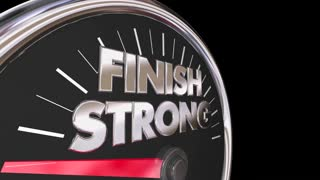 Finish Strong Speedometer Win Race Competition End 3 D Animation