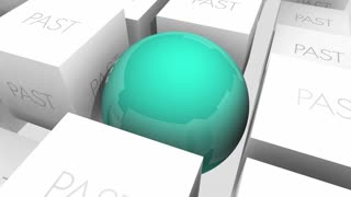 Future Vs Past Moving Forward Progress Ahead Sphere In Cubes 3 D Animation