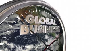 Global Business Clock International Companies World 3 D Animation - Elements of this image furnished by NASA