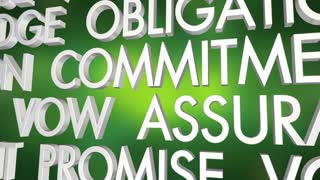 Guarantee Promise Vow Pledge Word Collage 3 D Animation