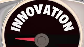 Innovation Gauge Level Innovate New Ideas Robot 3 D Animation