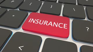 Insurance Buy Policy Coverage Online Computer Key 3 D Animation