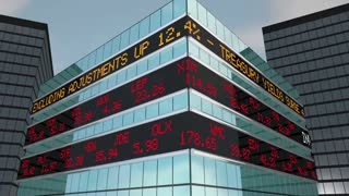 Invest Stock Market Ticker Stocks Brokerage Building 3 D Animation