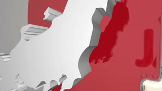 Japan Country Nation Map Asia Flag 3 D Animation