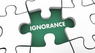 Knowledge Beats Ignorance Intelligence Vs Stupidity Puzzle 3 D Animation
