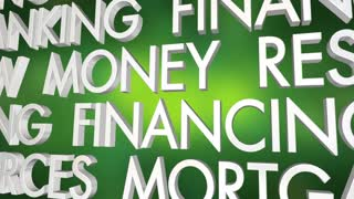 Loan Borrow Money Credit Mortgage Financing Word Collage 3 D Animation