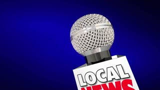Local News Report Microphone On The Scene 3 D Animation