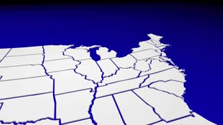 Michigan Mi State Map Pin Location Navigation Destination 3 D Animation