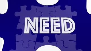 Need Fulfilled Words Puzzle Piece Filling Hole 3 D Animation