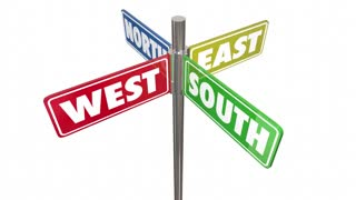 North South East West Directions 4 Way Signs Seamless Looping 3 D Animation