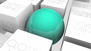 Open Vs Closed Mind Accepting New Ideas Sphere In Cubes 3 D Animation