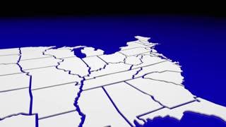 Pennsylvania PA State Map Pin Location Navigation Destination 3d Animation