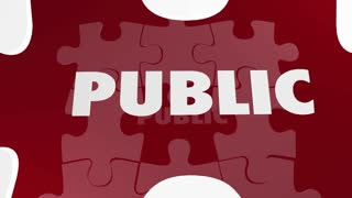 Private Vs Public Secret Confidential Information Data Puzzle Words 3 D Animation