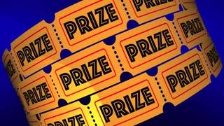 Prize Big Jackpot Win Award Raffle Tickets 3 D Animation