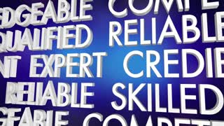 Professional Expert Reliable Reputation Word Collage 3 D Animation