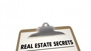 Real Estate Secrets Location Best House Property Area Checklist Clipboard 3 D Animation