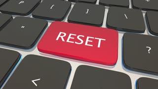 Reset Computer Keyboard Key Button Restart Again 3 D Animation