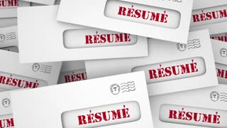Resume Many Job Applicants Envelope Pile 3 D Animation