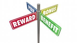 Reward Benefit Perk Bonus 4 Way Signs Seamless Looping 3 D Animation