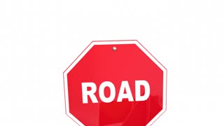 Road To Safety Stop Caution Warning Signs 3 D Animation