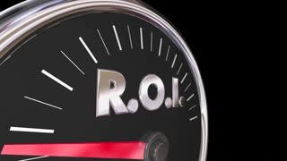 Roi Level Gauge Speedometer Return On Investment 3 D Animation