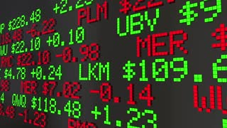 Stock Futures Early Trading Market Values Ticker Prices 3 D Animation
