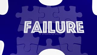 Success Vs Failure Words Puzzle Piece Filling Hole 3 D Animation