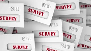 Survey Market Customer Research Study Envelopes Reponses 3 D Illustration